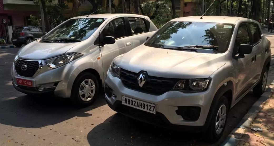 左图为印度市场销售的Datsun redi GO,右图为雷诺Kwid