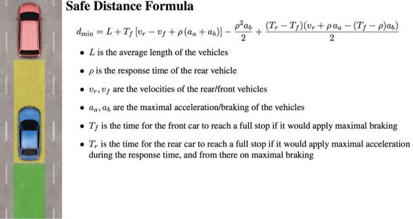 上述公式可以用来计算前后两辆车之间纵向的安全行驶距离