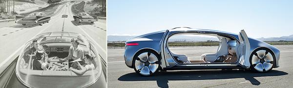 左图:1950年周六邮报对车内空间的预测; 右图:2015年奔驰概念车