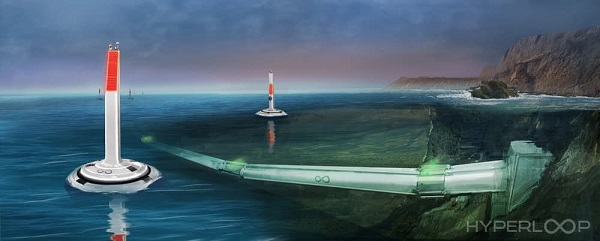 Hyperloop水下管道的概念图