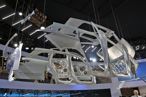蔚来ES8的全铝车身结构
