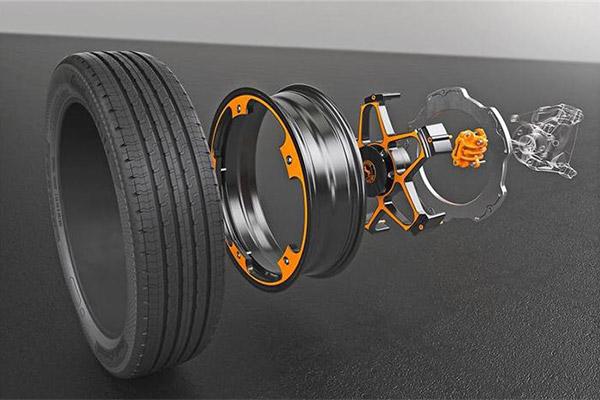 电动车概念车轮,采用轻量化铝材  内置制动器将增长制动圆盘的摩擦