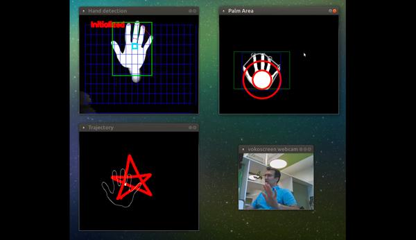 手势识别模型在视觉摄像头前接受测试,能够准确识别手掌的位置以及动作轨迹