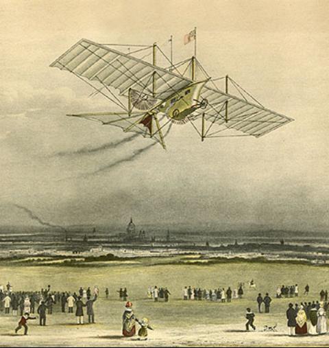 1843年,一则广告中出现的The Henson Aerial Steam Carriage假想图