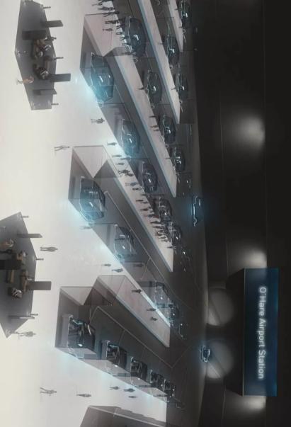 旋轉查看奧黑爾機場地下隧道繪制圖
