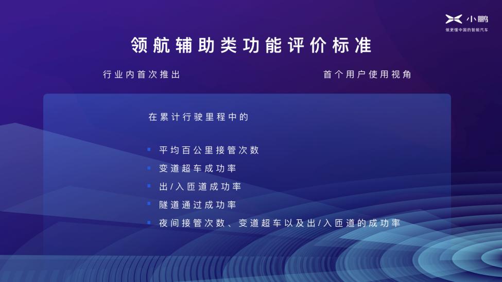 小鹏汽车推出首个领航辅助类功能评价标准