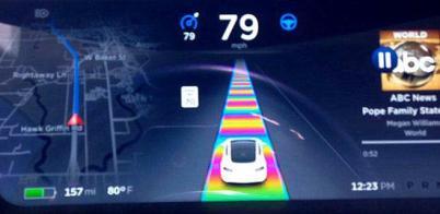 特斯拉新功能:传感器识别自动驾驶画面