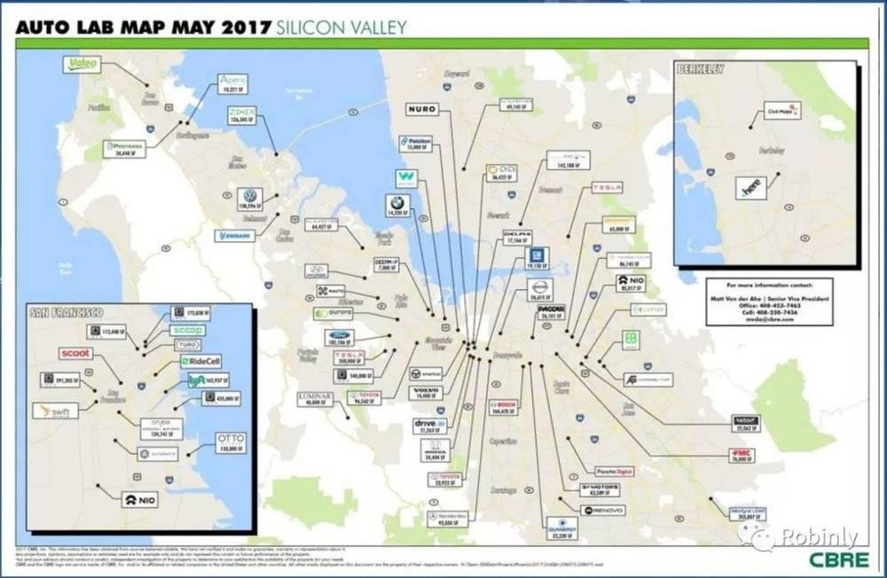 2017年汽车技术相关公司硅谷分布图(图片来源:CBRE)