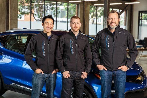 左起:Cruise联合创始人Kyle Vogt、Daniel Kan和通用总裁Dan Ammann
