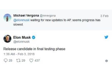 马斯克曝Autopilot将迎来更新