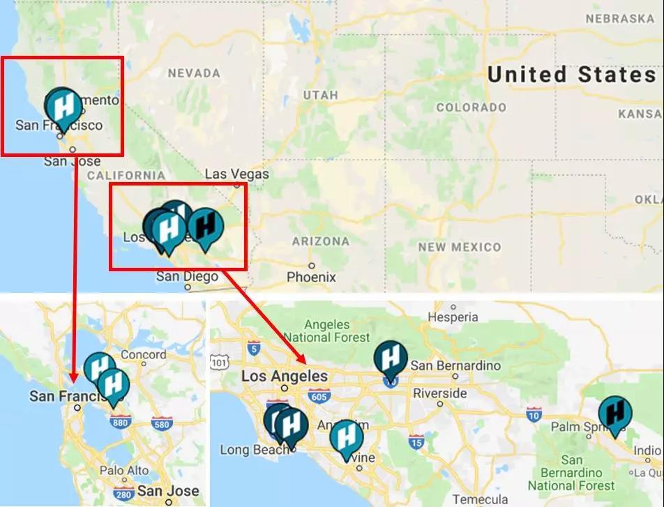图2美国加州——公共汽车(bus)和卡车(truck)加氢站分布图  资料来源:California Fuel Cell Partnership,香橙会研究院