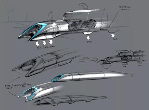 2013年馬斯克關于 Hyperloop 暢想的草圖