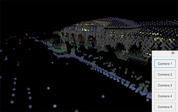 融合后的三维彩色点云数据,上图拉近到远处的建筑物