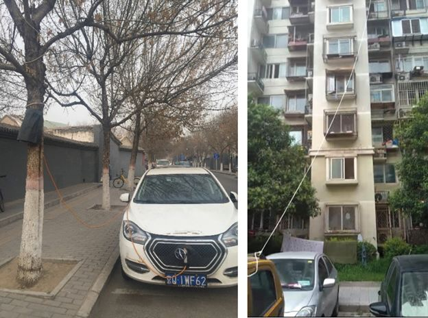 """由于私人充电桩不足,北京居民楼里""""放风筝式""""的 充电方式。图片来源:Rob Early"""
