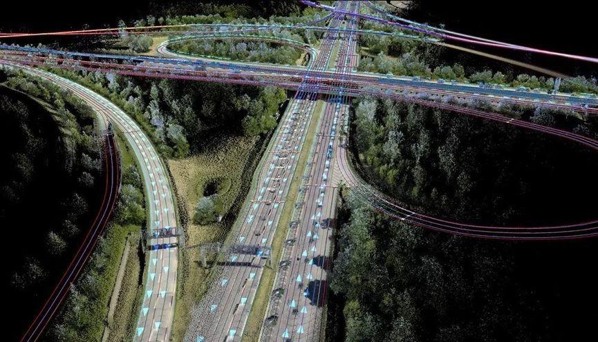 3D 高精地图模拟效果,注意那些车道线、箭头和立体交叉