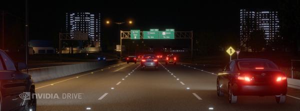 NVIDIA DRIVE Constellatio模拟夜间行车