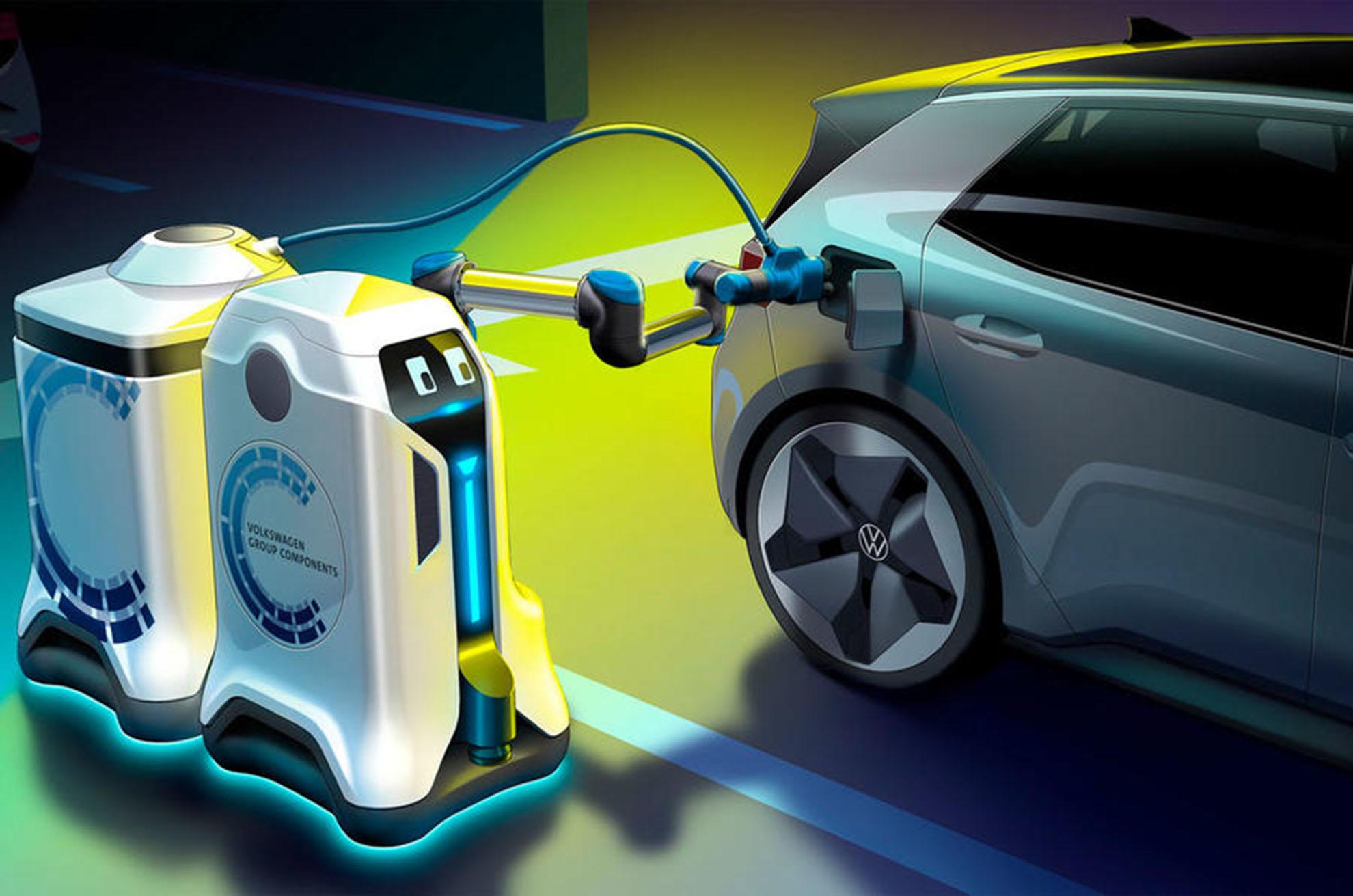 停车场补能方案,大众推出充电机器人新概念