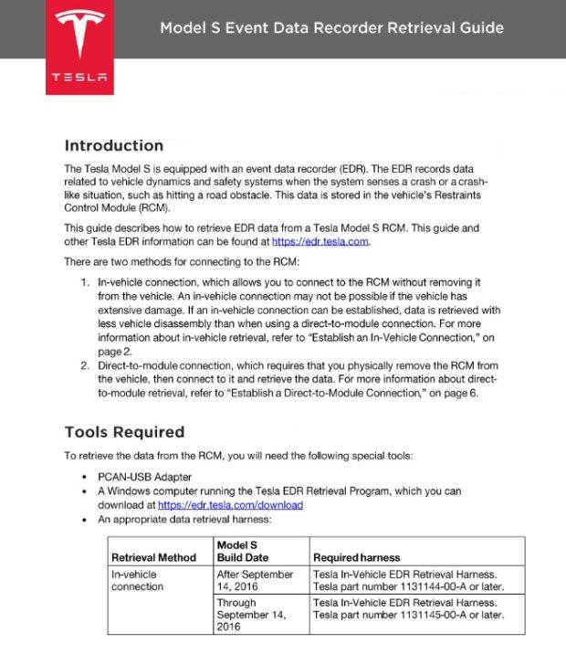 特斯拉美国官网对事故查询工具的说明