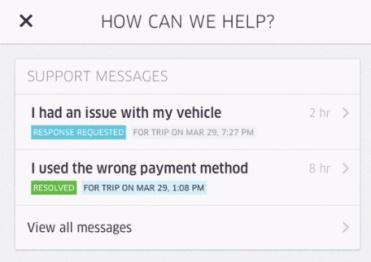 Uber更新应用,用户反馈可在APP完成