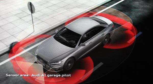 奥迪新A8在自动驾驶模式下,自动入库时所需要的传感器辅助。
