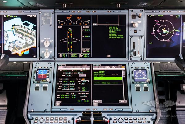 空客A350的中央控制面板