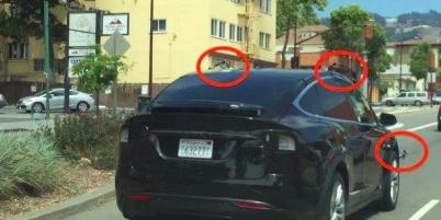 特斯拉Model X SUV上疑似装置传感器