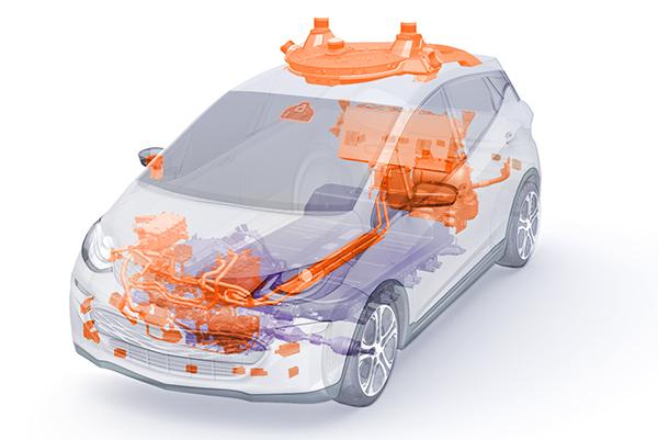 通用去年发布的第三代无人驾驶汽车。橙色是新的零件,紫色是修正后零部件。