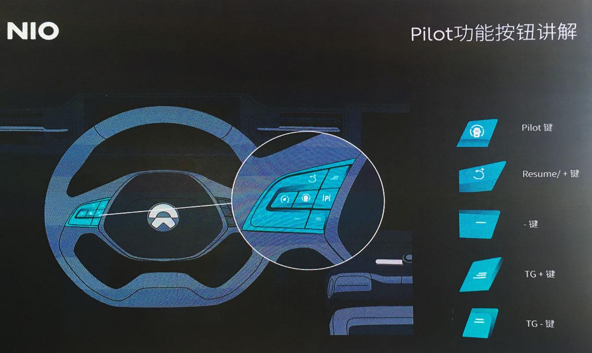 """点击看大图,方向盘左侧的多功能按键,负责了所有""""NIO Pilot""""的功能操作"""