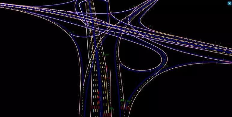 宽凳做的高速公路高精地图一角:黄桷湾立交桥。红色:地面标识;绿色:标识牌