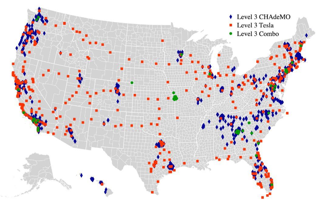 三种类型的直流快速充电站在全美的分布,图片来自AFDC