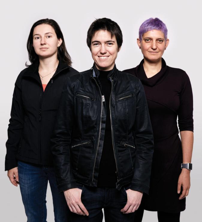 (女研发团队,从左?#19994;椒直?#26159;技术项目经理Olga Palatnik、首席科学家Raquel Urtasun、高级工程经理 Inmar Givoni)