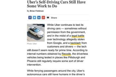 Uber自动驾驶想彻底离开人工干预还要点时间
