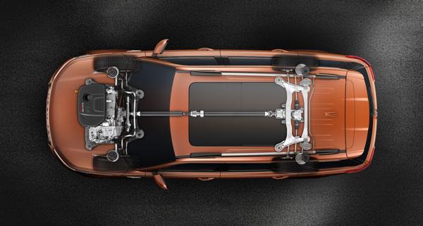 两款车的四驱系统,从这个角度的透视图来看几乎都一样,甚至可以说都能共用。