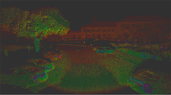 Innovusion第一款激光雷达点云单桢数据图。图中颜色代表反射值,场景为斯坦福校园。产品采用的探测原理是ToF,返回X、Y、Z数据之外,还能带回反射值信息(便于探测车道线)。