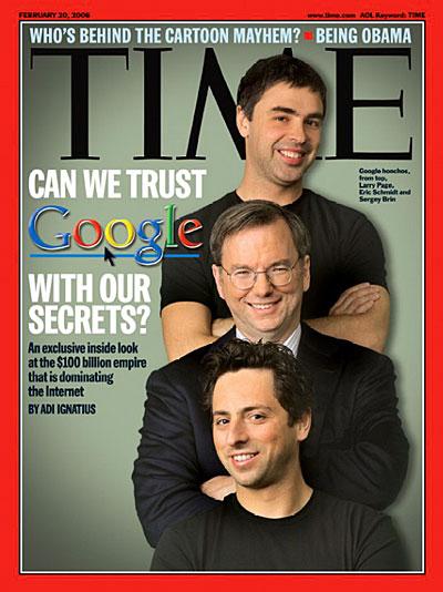 Google三巨头:拉里·佩奇、埃里克·施密特与谢尔盖·布林(Sergey Brin)