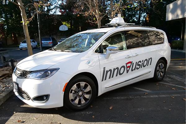Innovation激光雷达原型近图及其所搭载的测试车