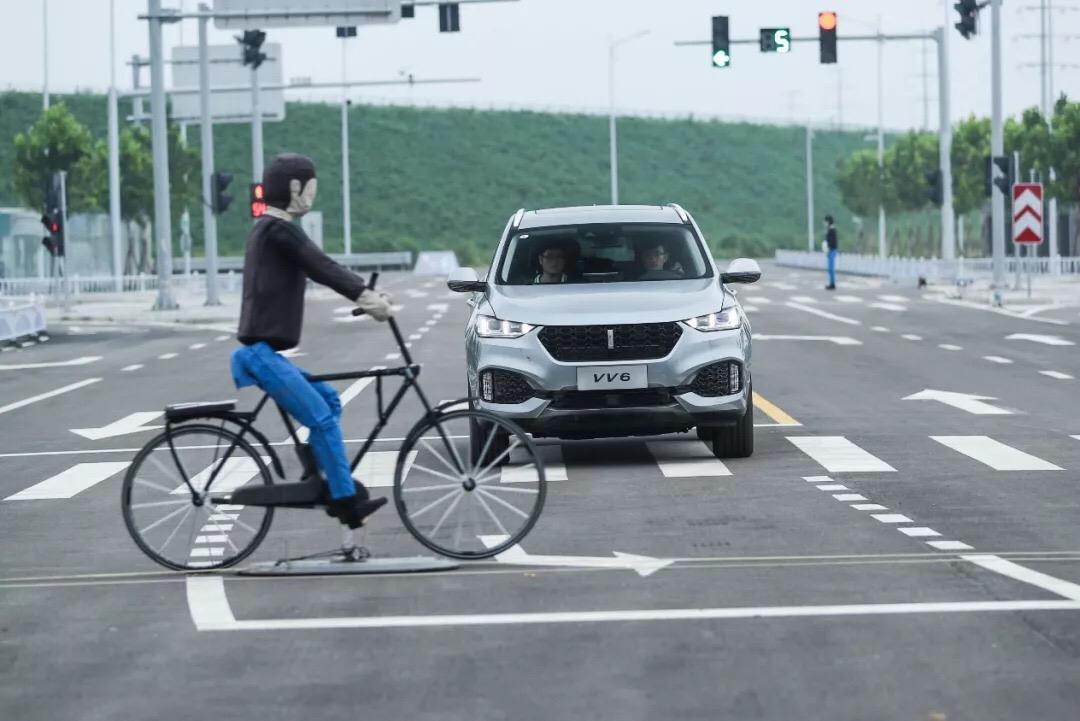 VV6 AEB主动式紧急制动系统自行车识别测试