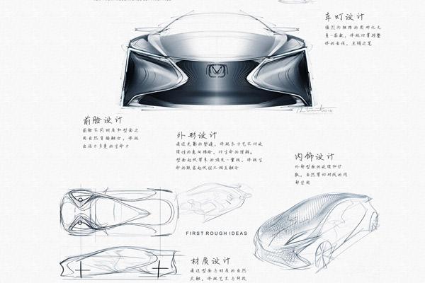 """概念车""""极流""""的设计草图"""