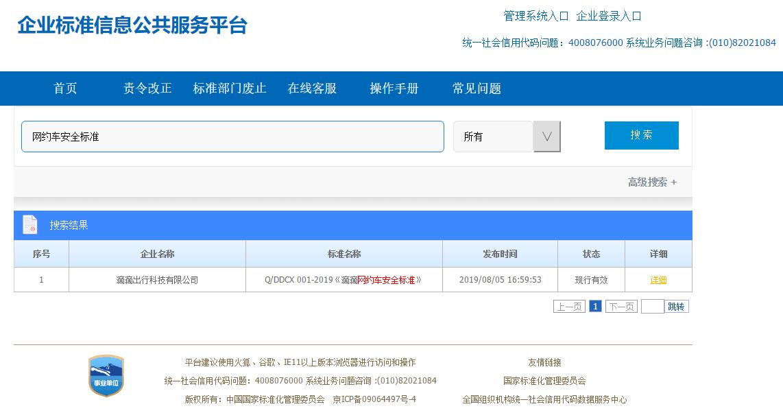 滴滴出行在企业标准信息公共服务平台发布《滴滴网约车安全标准》