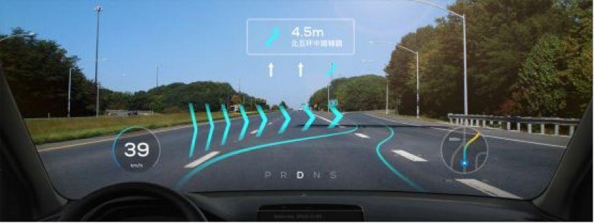 百度世界大会演示 AR-HUD 实车测试效果