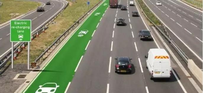 英国无线充电公路概念图,属于动态无线充电