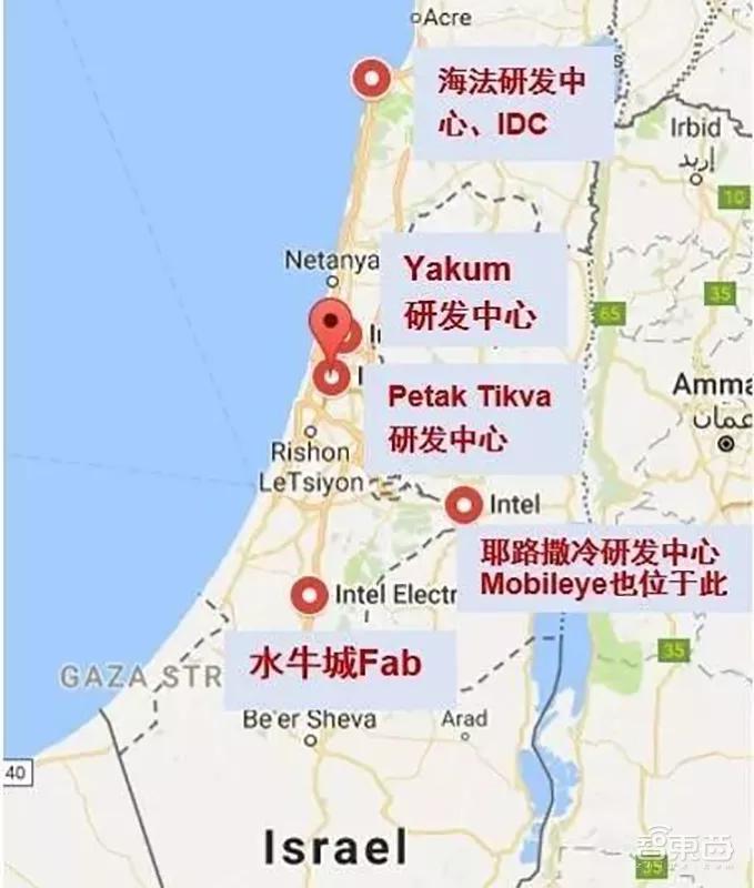 英特尔在以色列的四个研发中心分布