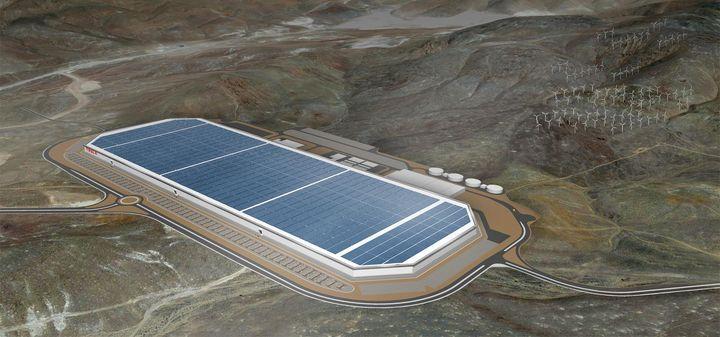 完工后的 Gigafactory 1 渲染图