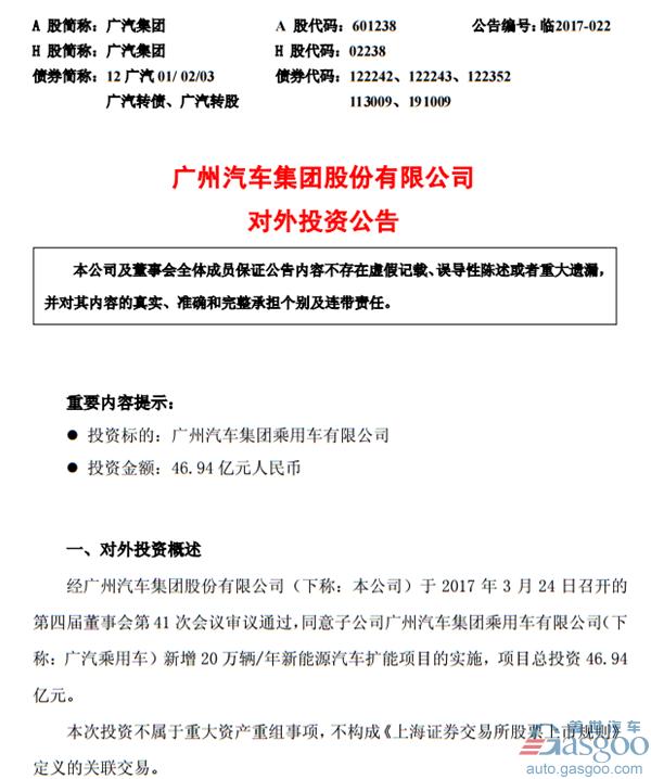 广汽集团《对外投资公告》截图