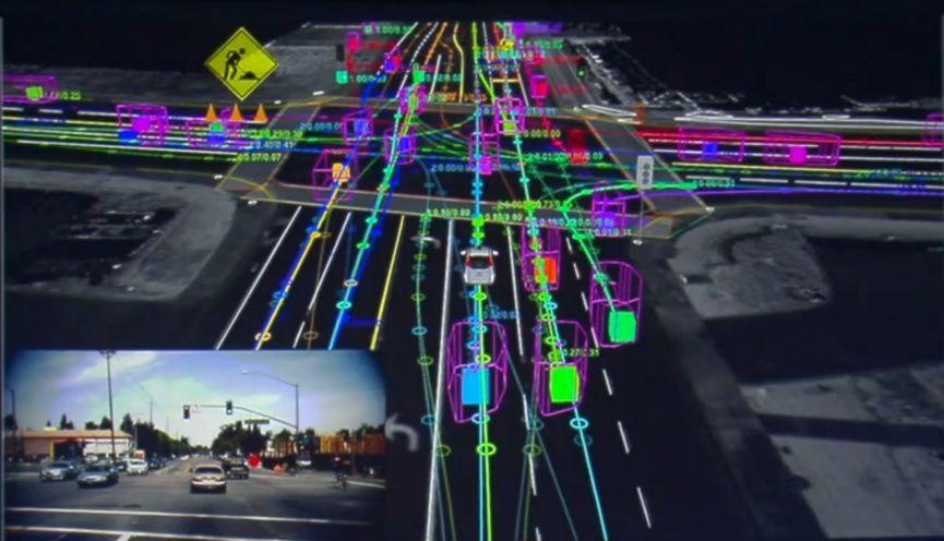 Google 无人驾驶的三维探测仿真图