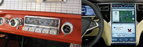 左图:1952年的车载收音机; 右图:特斯拉中控台